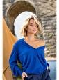 Silk and Cashmere & More Edelina Modal ve Pamuklu Yuvarlak Yaka Hırka Saks